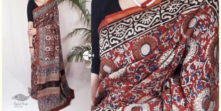 Indigenous Impressions ★ Hand Block ★ Kalamkari Print Chanderi Silk Saree  ★ 13