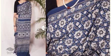 Indigenous Impressions ★ Hand Block Ajrakh Printed Mul Cotton Saree ★ 8
