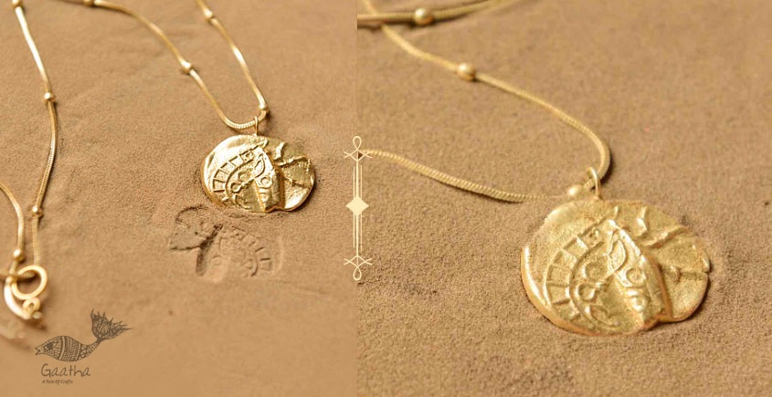 Ottone ✡ Necklace ✡ Fossil  Pendent  M - 2 ✡ 38