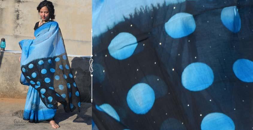 Harini ☙ Chanderi Clamp Dyed & Hand Embroidered ☙ Full Moon Saree. ☙ 3