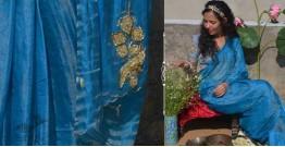 Shaahi ❂ Blue & Gold tissue Silk Hand-embroidered Saree ❂ D