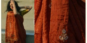 Shaahi ❂ Gold & Red tissue Silk Hand-embroidered Saree ❂ C