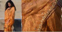 Shaahi ❂ Golden Tissue silk Hand-embroidered Saree  ❂  A