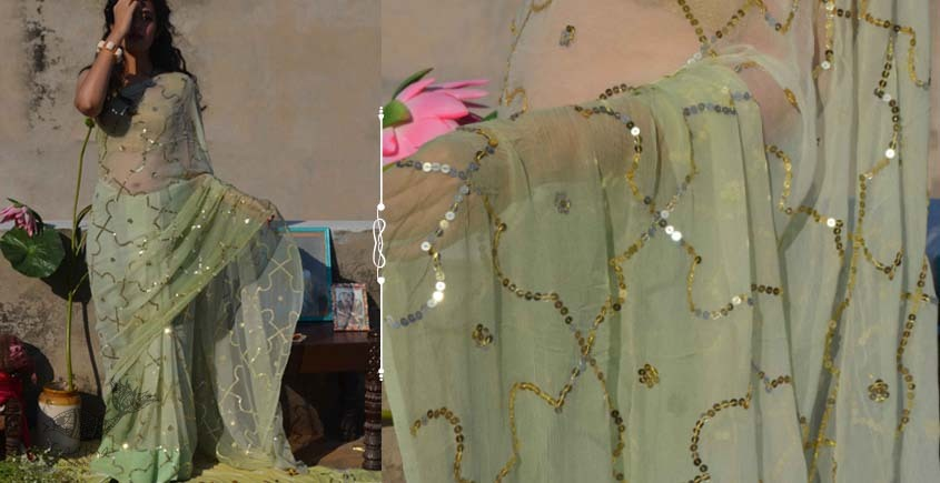 Shaahi ❂ Pure Chiffon Hand-embroidered Saree ❂ G