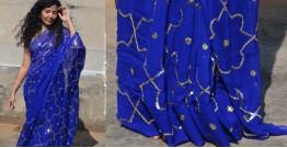 Shaahi ❂ Pure chiffon hand-embroidered saree ❂ H