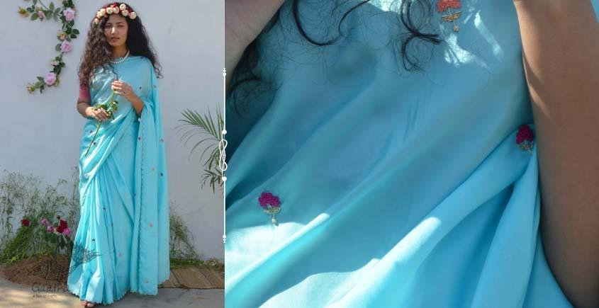 Shaahi ❂ Pure silk hand-embroidered Saree ❂ E