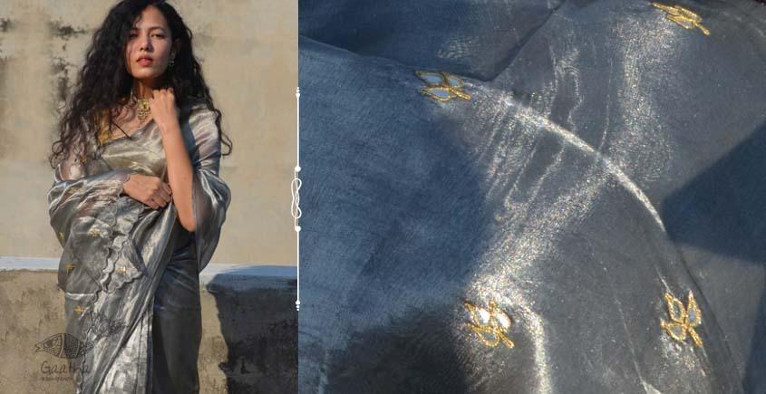 Shaahi ❂ Silver tissue silk hand-embroidered Saree  ❂  B