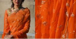 Shaahi ❂ Orange & Gold Hand Embroidered Chiffon Saree ❂ 12