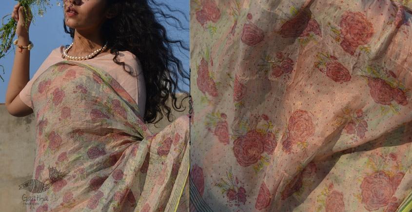 Shaahi ❂ Tissue Silk Block Printed Gulaab Saree ❂ 15