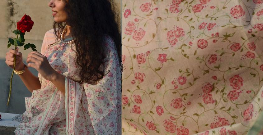 Shaahi ❂ Chanderi Silk ❂ Hand Block Printed Rose Garden Saree ❂ 17