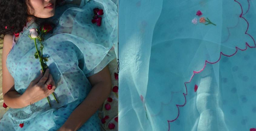 Shaahi ❂ Organza Hand Embroidered Rose Saree ❂ 19