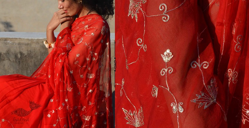 Shaahi ❂ Hand Embroidered Aari Jaal Red Chiffon Saree ❂ 13