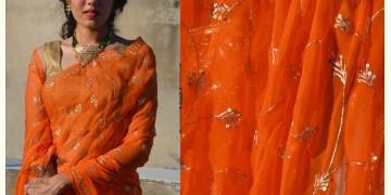 Shaahi ❂ Orange Hand Embroidered Aari Jaal Chiffon Saree ❂ 12