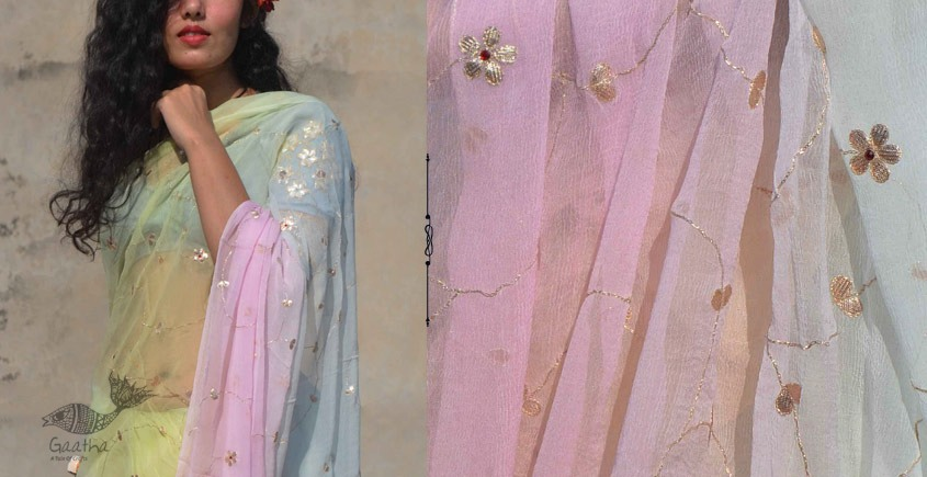 Shaahi ❂ Pastel Rainbow Gota Patti Hand Embroidered Saree ❂ 11