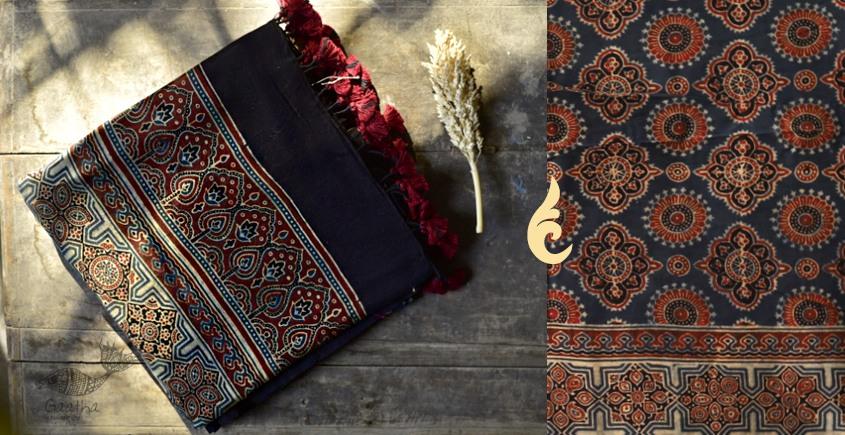 online Chanderi Silk Vegetable colors Ajrakh dupatta