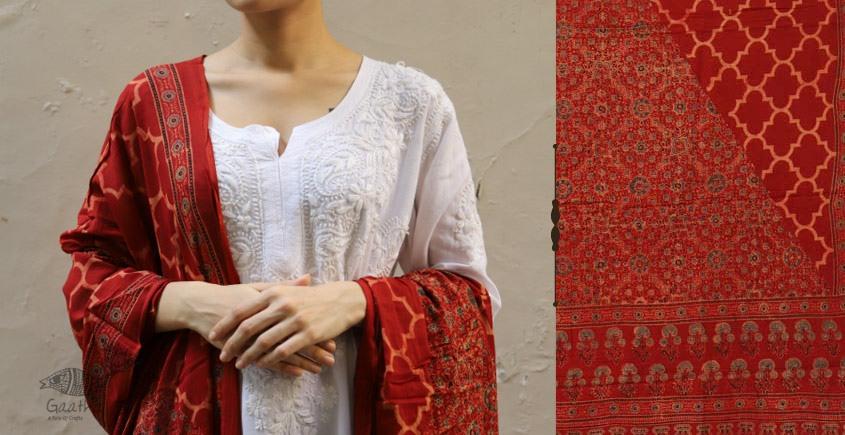शोभना . Shobhna ❋ Mul Cotton Ajrakh Dupatta - 5