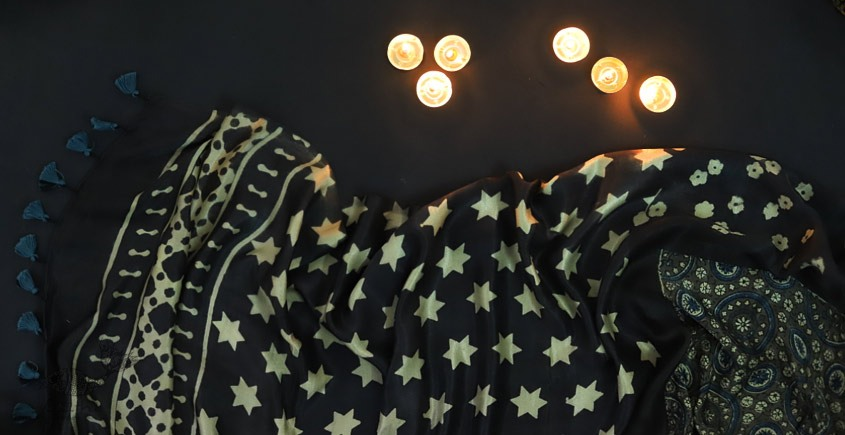 Kaveri . कावेरी - Gajji Silk Ajrakh Saree - 1