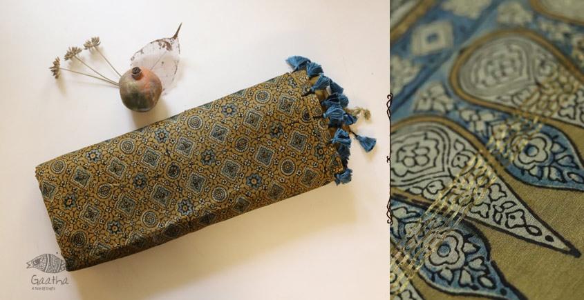 Ajrakh Chanderi Cotton Silk saree 21