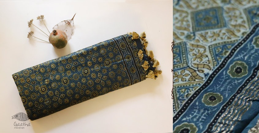 Ajrakh Chanderi Cotton Silk saree 22