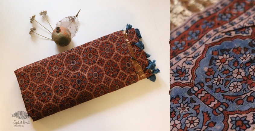Ajrakh Chanderi Cotton Silk saree 27
