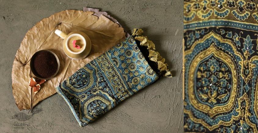 Original Ajrakh modal silk stole - blue and light yellow print