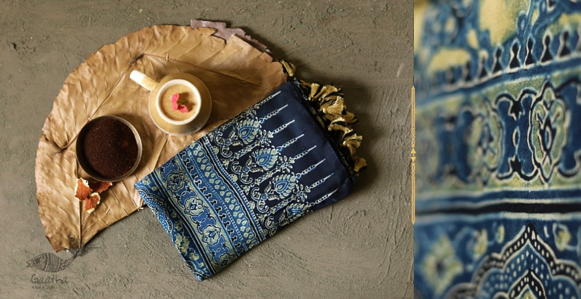 Original Ajrakh modal silk stole with superb color combination of blue and yellow