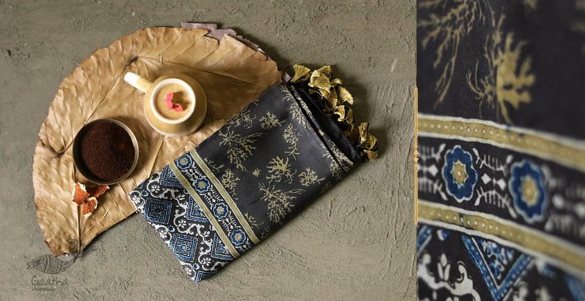 Original Ajrakh modal silk stole in beautiful brown colour