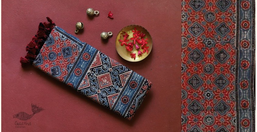 traditional pattern Cotton Ajrakh Stoles in balck, blue and red print