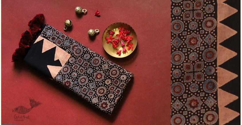 traditional pattern Cotton Ajrakh Stoles - black