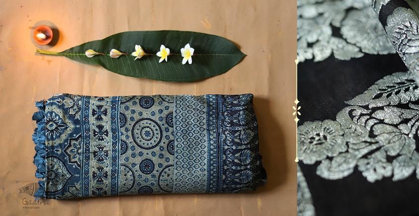 Ajrakh Print Modal  Silk Saree with Zari Pallu - blue and black print