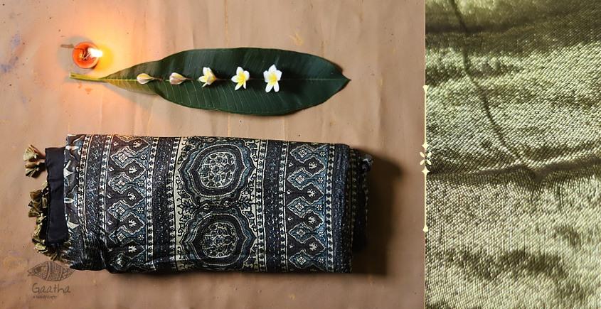 Celestial Decorations - Modal Silk Ajrakh Saree with Zari Pallu - 4