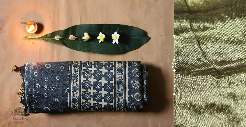 Celestial Decorations - Modal Silk Ajrakh Saree with Zari Pallu - 5