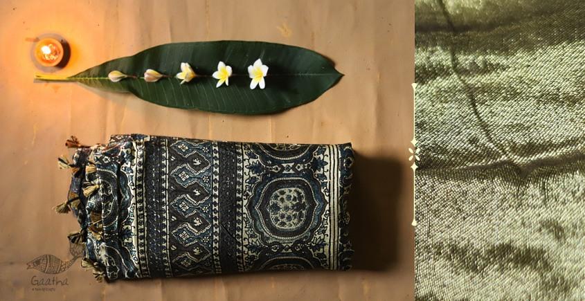 Celestial Decorations - Modal Silk Ajrakh Saree with Zari Pallu - 11