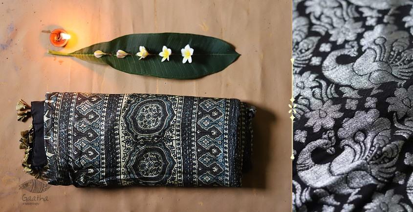 Celestial Decorations - Modal Silk Ajrakh Saree with Zari Pallu - 17