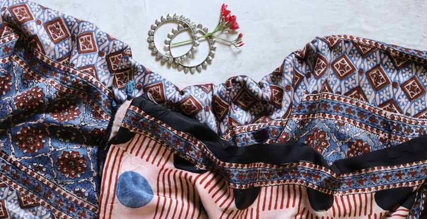 पार्वती ❋ Ajrakh Modal Silk Saree ❋ 17