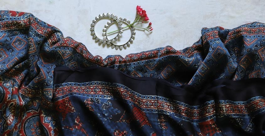 2020 New Collection of Modal silk ajrakh saree in blue and red block print