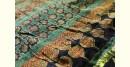 Ajrakh Print Modal  Silk Saree with Zari Pallu - Green and Balck full zari / all over zari
