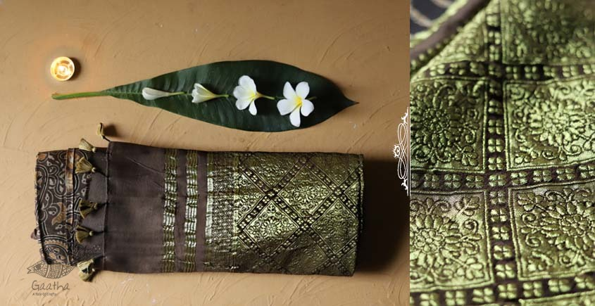 Ajrakh Print Modal  Silk Saree with Zari Pallu - chocolate color