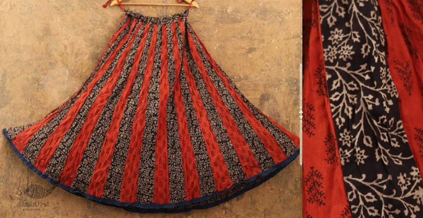 buy online ajrakh printed full flared skirt ( Chaniya ) Red & Black Colour