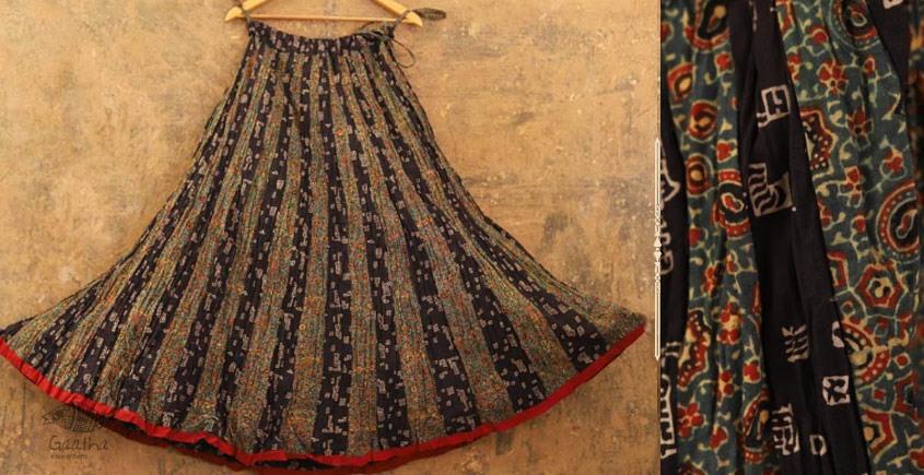 buy online ajrakh printed full flared skirt ( Chaniya ) with Black Print