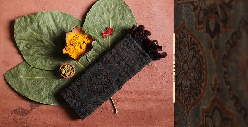 brown color Mul Cotton Ajrakh Stoles