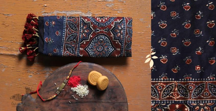 Chanderi silk . Cotton Ajrakh Dark Blue Colour Stole