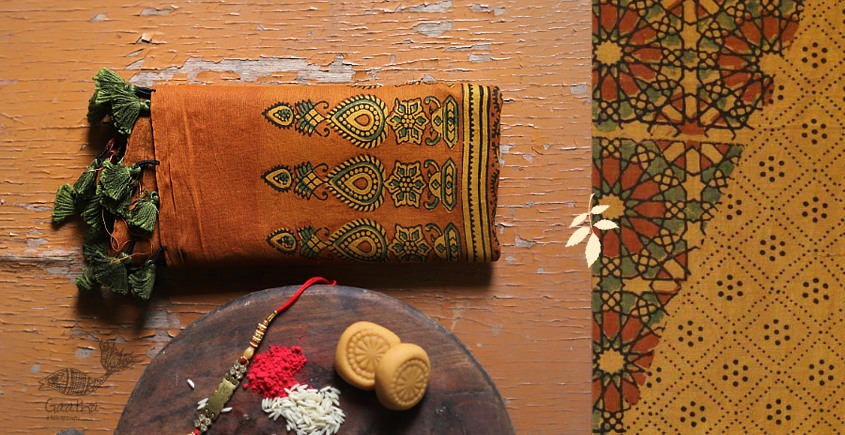 designer Chanderi Cotton Ajrakh Stole - mustard yellow and brown color