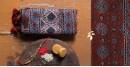 designer Chanderi Cotton Ajrakh stole - red and blue block print
