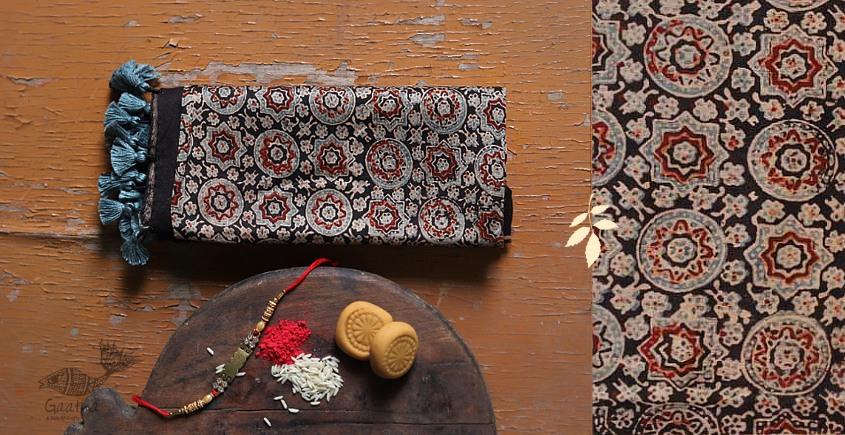 designer Chanderi Cotton Ajrakh Black block print Stole