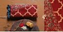 designer Chanderi Cotton Ajrakh Stole - bright red color