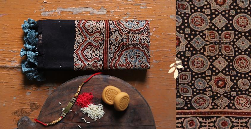 Chanderi Cotton Ajrakh Black Colour Stole with Badla work