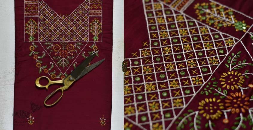 Saheli ☀ Embroidered Slub Silk Dress Material ☀ 53