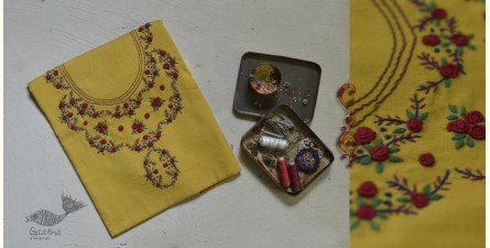 Treads of Love ✯ Hand Embroidered Linen Kurti Material ✯ 9