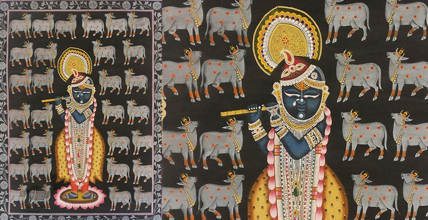 बनवारी ☙ Pichwai Painting ☙ Krinath with Cows { 18 x 24 inch } ☙ L